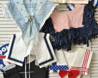 Vintage Destash Bundle Womens Bibs Collars Set of 6 Assorted Patterns & Styles Nautical Teacher Patriotic Preppy Country 80s Upcycle Craft