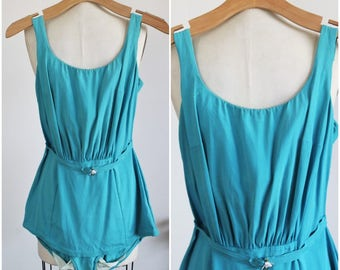 Vintage 1950s Catalina Swimsuit  / 50s Swimwear / 50s Bathing Suit / Teal Blue Swimming Suit / 1950s Swim Suit / Pinup / Pin Up