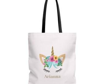 Unicorn Face Tote Bag, Unicorn Tote Bag, Unicorn Bag, Personalized Tote, Personalized Unicorn Gift, Unicorn Tote, Tote Personalised Bag Pink