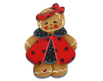 Ladybug Ginger Ornament or Fridge Magnet, Handpainted Wood Gingerbread Refrigerator Magnet, Tole Decorative Painting