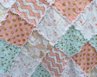Rag Quilt- Brambleberry Ridge and Glitz- Mint and Pink- Baby Quilt- Baby Rag Quilt- Baby Blanket