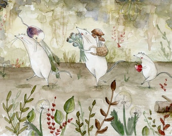 The Gatherers Mice Illustration Print. Mouse Picnic Painting