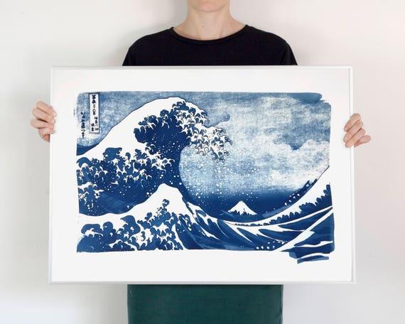 The Great Wave off Kanagawa Japanese Print by Hokusai, Cyanotype Print, Asian Decor, Japanese Wave, Top Selling Artwork, Asian Decor
