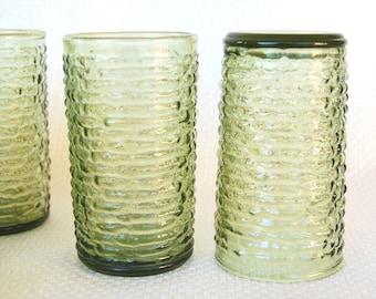 Set of 4 Soreno Avocado Green 12 ounce Highball Tumblers or Water Glasses Anchor Hocking 1966-1970 Production Olive Green Soreno