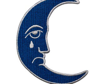 Blue moon patch. Sad crescent moon iron on patch.
