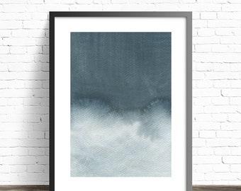 Grey Print. Watercolor Print. Modern home decor. Abstract painting print. Abstract wall art. Minimal art. Modern art print.
