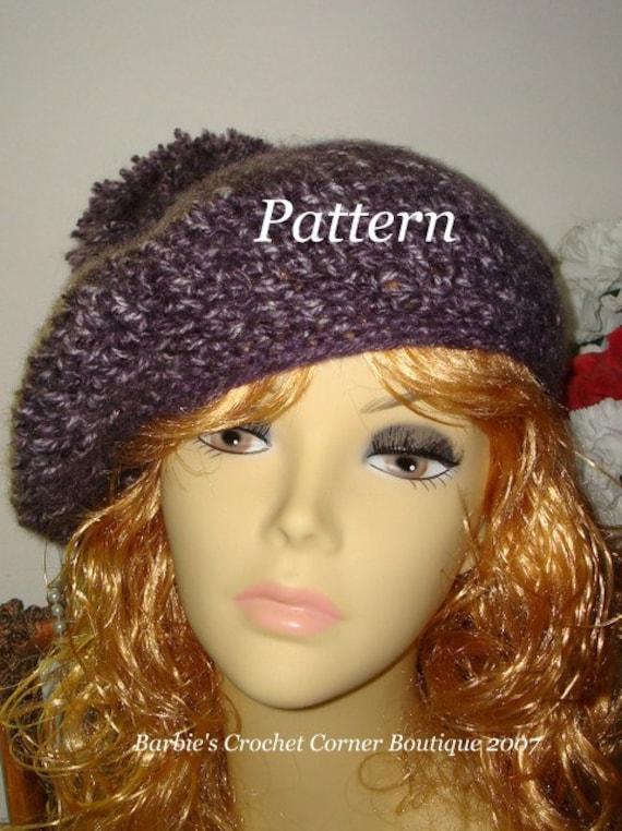 Pattern Crochet Winter Warm Scottish Style Beret Tam With Pom