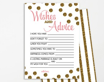Wishes for Bridal Shower Printable | INSTANT DOWNLOAD | Gold Glitter Confetti | Bridal Shower Game | Bridal Shower Decoration | Advice Card