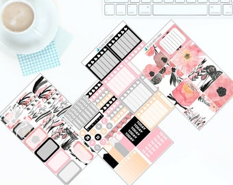 Black & Pink Flowers - Weekly Kit Stickers for Erin Condren Vertical LifePlanner *NEW PREMIUM PAPER!*