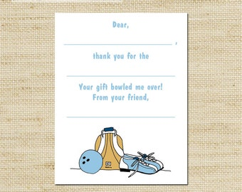 Kids Thank You Notes - Bowling  Fill In Thank You Cards, cards & envelopes