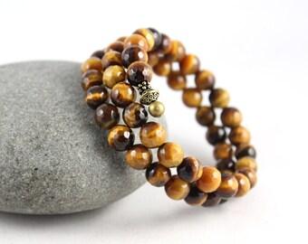 Tigers Eye Wrap Bracelet, Memory Wire Bracelet, Wrap Bracelet, Yoga Jewelry, Gem Cuff Bracelet, Cuff Bracelet, Gem Cuff, Yoga Jewelry, Yoga