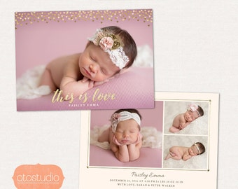 Birth Announcement Template Horizontal - Valentines Birth Announcement - This is Love CB082 5x7 card - INSTANT DOWNLOAD
