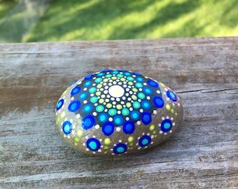 Mandala stone in blues and greens