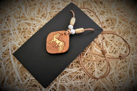 leather necklace, unicorn pendant, leather collar, pagan medieval jewel