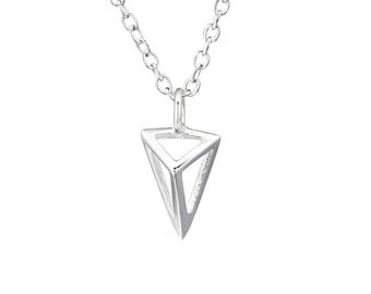 Silver Geometric Triangle Necklace