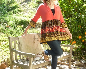 Red Orange sweater w Vintage Carole Little skirt, large, rayon, cardigan, 3/4 sleeve, girly, boho, ooak, indie, babydoll, lightweight