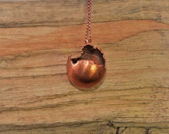 Electroformed Small Egg Copper Necklace C21