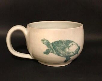 green turtle cappuccino mug