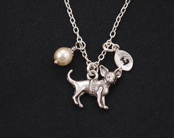 chihuahua necklace, sterling silver filled, initial necklace, Swarovski pearl choice,silver dog charm on silver chain,doggy jewelry,birthday