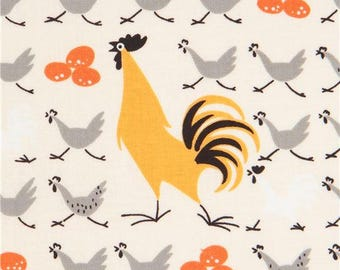 217135 cream Alexander Henry fabric chicken bird animal Farmdale Crossing