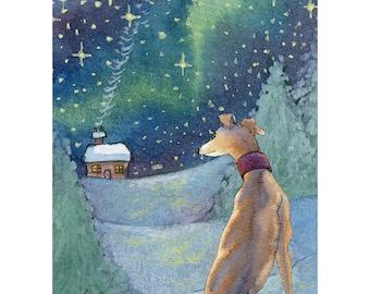 impression d'art de lévrier 8 x 10 paysage enneigé whippet lurcher lévrier maison pour les fêtes de nuit étoilée tout est lumineux Susan Alison aquarelle