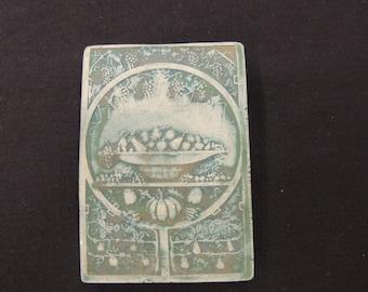 Vintage Green Ceramic Feast Tile Brooch