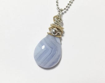 Blue Lace Agate Wire Wrapped Gemstone Pendant, Pastel Blue, Mixed Metal, Briolette Necklace, Boho, Sterling Silver