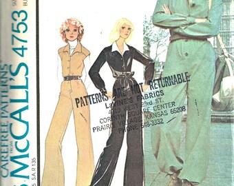 McCall's Pattern 4753 Women's Jumpsuit Size 8 1970's