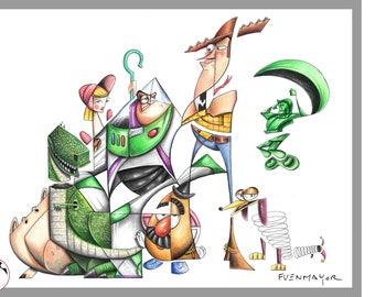 Toy story / disney / pixar / Caricature / Cartoon / Comic / Pop Surrealism / Lowbrow / Cubism / Pop Art  Illustration Print