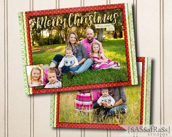 Merry Christmas Layers--Christmas Card Template for Adobe Photoshop, Photographer Template, Instant Download, DIY, Commercial Use