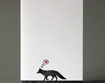 Fox in Love - Letterpress Greetings Card - Valentine's Day - Anniversary