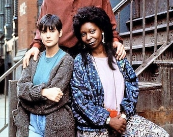 Patrick Swayze, Demi Moore, and Whoopi Goldberg on the set of 'Ghost, 1990