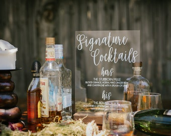 Signature Drinks Sign - Signature Cocktails Sign - Signature Cocktails Wedding Sign - Signature Drinks for Wedding - Acrylic Wedding Sign