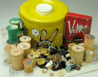 Vintage Butterfly Tin fill with Sewing Supplies, Spools, Buttons