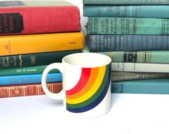 Vintage Ceramic Rainbow Coffee Cup by FTDA, Korea 1988