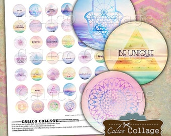 Sacred Geometry, Digital Collage, Collage Sheet, 1 inch Circle, Boho Collage Sheet, Bottle Cap Images, Images for Cabochons