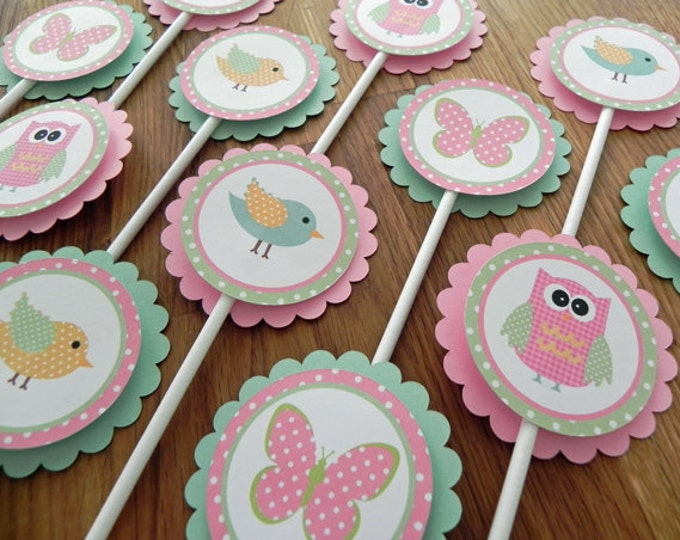 Cupcake Toppers: Pink & Green Woodland Owls Birds and Butterflies - Girl Baby Shower or birthday party decorations