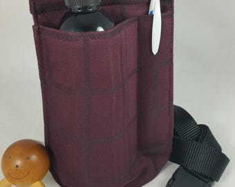 Massage Therapy LEFT single 8oz bottle hip holster, maroon, black cross hatch, pen pocket, back pocket, black belt