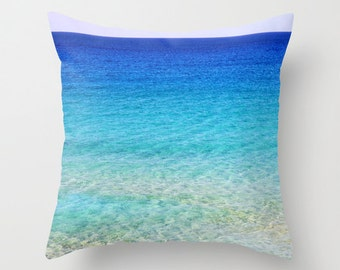 Calm Waters Throw Pillow, Ocean Blue Green Pillow, Outdoor, Patio, Decorative Pillow, Nature Cushion,Wedding Gift, Nautical Pillow, Surf
