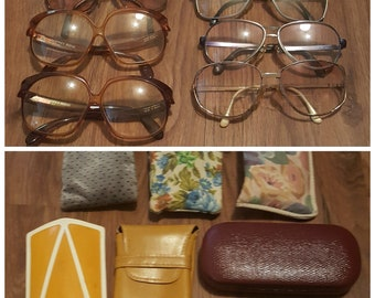 VINTAGE eyeglass and case lot, 6 eyeglasses 6 cases with bonus pair of sunglasses, lot of 6 vintage eyeglasses, lot of 6 vintage cases