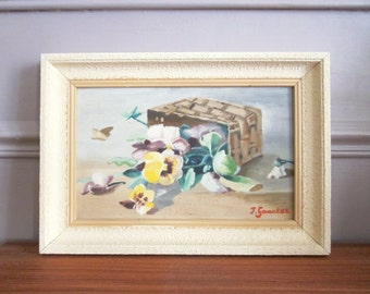 Vintage french little OIL PAINTING on panel with Frame, 1950s, Still life, Bouquet, Flowers, Signed by the artist