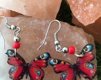 Red, Turquoise and Black Earrings - Spiritual Transformation & Change, Hippi, Boho, Festival, Colour, Joy - Great Gift