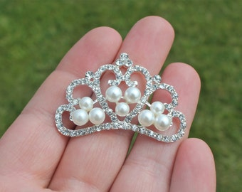 Flatback Rhinestone and Pearl Tiara Crown Embellishment-  Set of 3