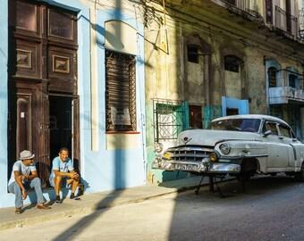 Broken Car, Vintage American Car, Car Photography, Cuba Photography, Old Havana Street Photography, Cuba Print Art, Cuban Art, Cuba Wall Art