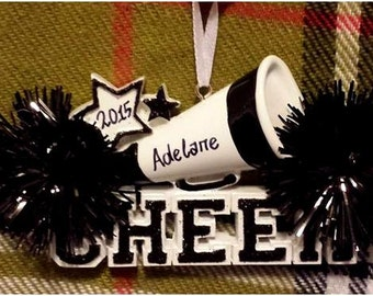 Personalized Christmas Ornament Cheer Megaphone and Black Pom Poms - Gift for Cheerleader - Cheer Birthday - Cheer Ornament