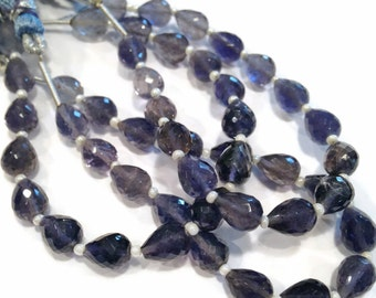 Iolite faceted teardrops, length-drilled.  Approx. 6.25x8mm.   Select a quantity.