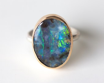Boulder Opal Ring in Recycled 14k Gold and Sterling Silver -Flashy Gemstone October Birthstone