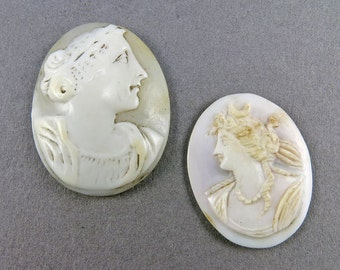 Victorian Antique Carved Shell Cameos Jewelry Supplies 2 Antique Victorian Jewelry Supplies Craft Supplies Antique Collectibles