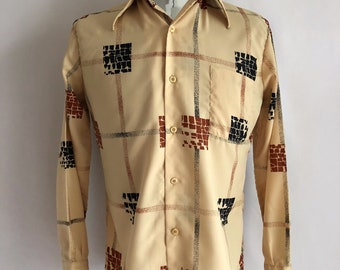 Vintage Men's 70's Disco Shirt, Tan, Geometric, Long Sleeve by Lancer (M)