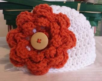 Crochet Baby Beanie, Hat, White with Orange flower, infant 0-3 months